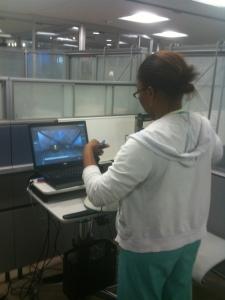 A resident at MedStar Washington Hospital Center practices laproscopic technique